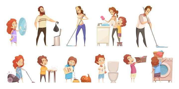 11款卡通拖地洗碗洗衣服刷马桶等大扫除打扫卫生图片免抠素材