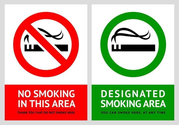 两款红色和绿色的禁止吸烟标志警示牌图片免抠矢量素材