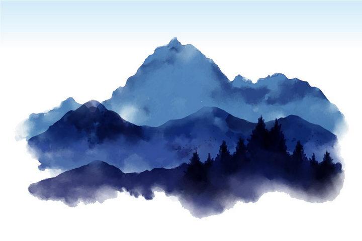 彩色水彩画远处的大山山脉图片免抠素材 插画-第1张