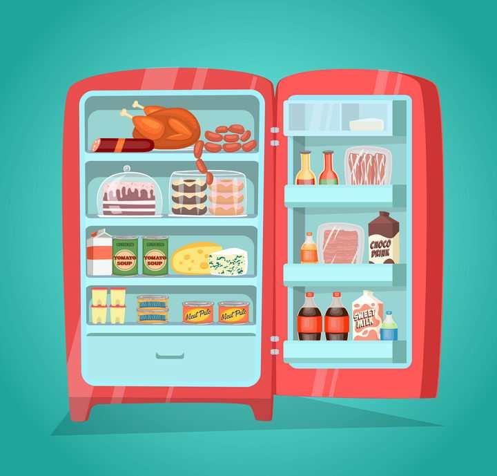 卡通漫画风格打开的电冰箱家用电器图片免抠矢量素材