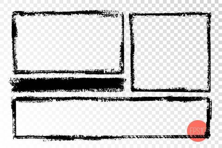 三款黑色涂鸦风格边框图片免抠矢量素材