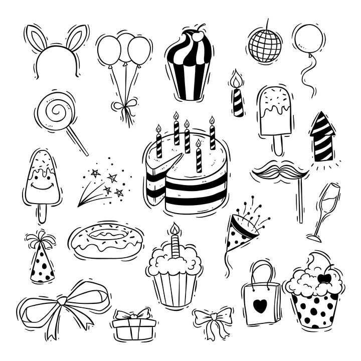 手绘简笔画生日蛋糕气球棒棒糖等图片免抠素材
