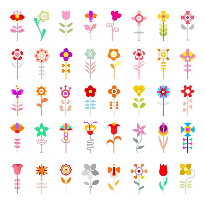 40款扁平化风格彩色花朵花卉图案图片免抠矢量素材 生物自然-第1张