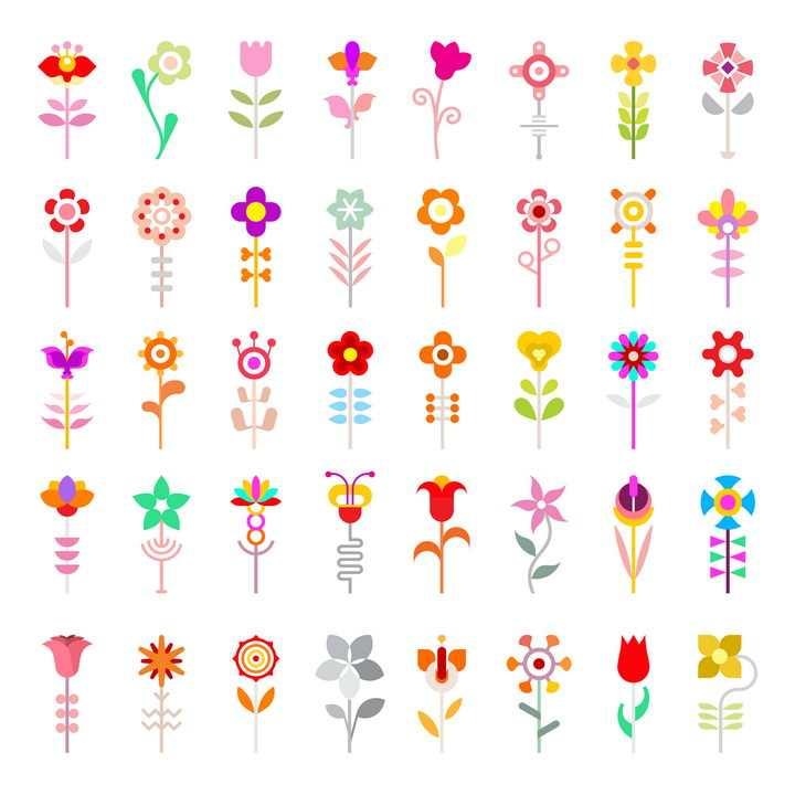 40款扁平化风格彩色花朵花卉图案图片免抠矢量素材