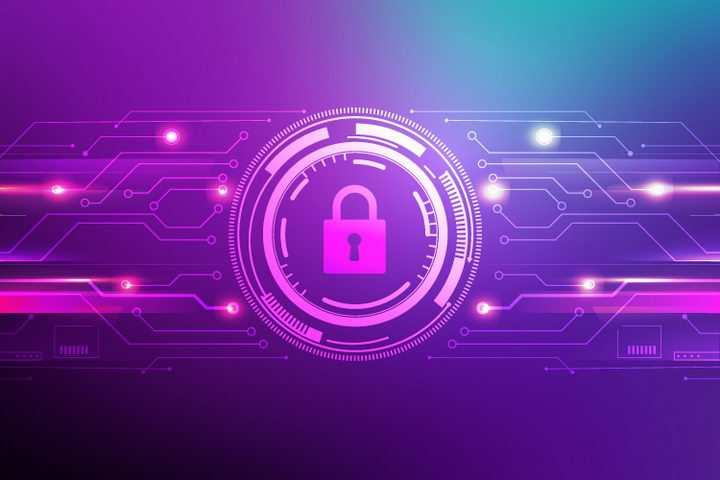 科幻风格紫色网络安全密码锁图案背景图片