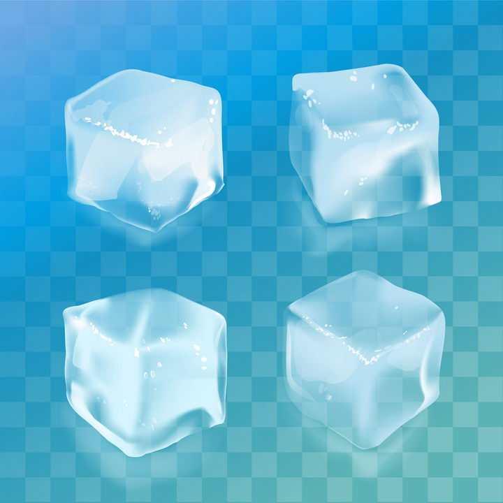 4款逼真的立方体冰块免抠矢量图素材