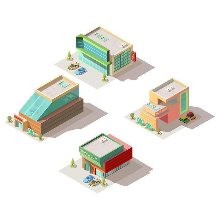 4款2.5D风格卡通城市建筑小型超市图片免抠矢量图素材