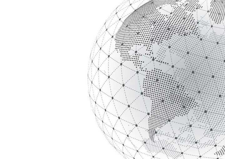点阵组成的世界地图地球和外面的圆点虚线组成的图案图片免抠矢量素材