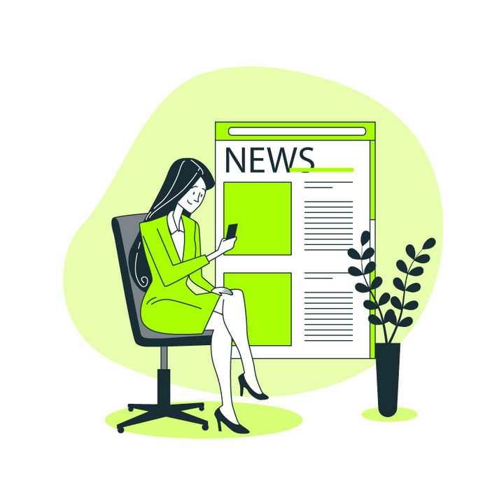 绿色扁平插画风格正在手机上阅读新闻的商务女士职场配图图片免抠素材