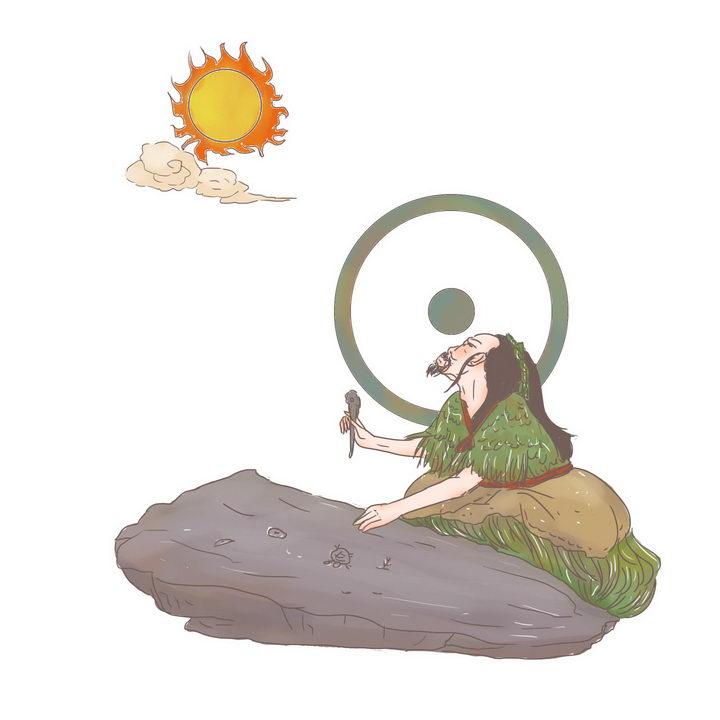 仓颉造字中国传统神话人物传说故事手绘彩色插图图片免抠png素材 教育文化-第1张