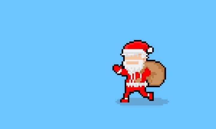 像素风格背着礼物的圣诞老人图片免抠素材