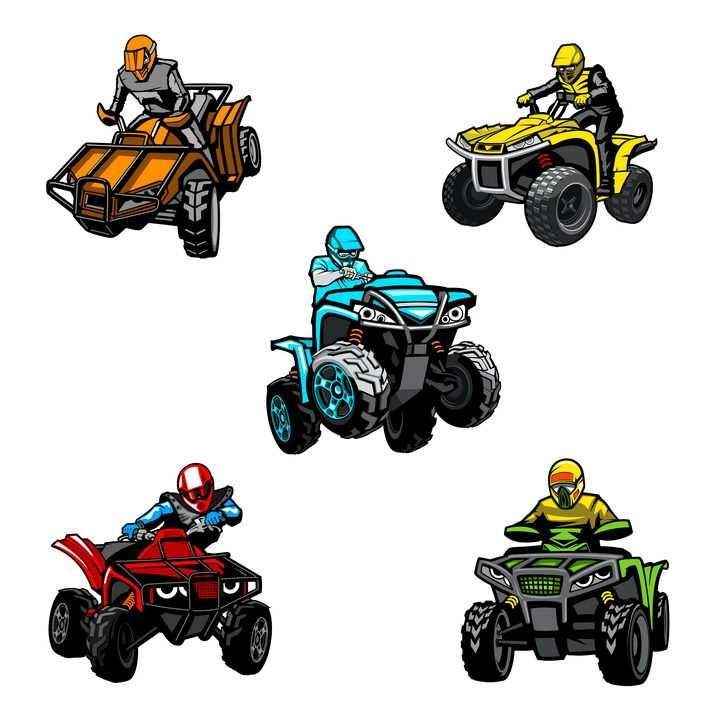 5款卡通手绘漫画风格四轮摩托车图片免抠素材