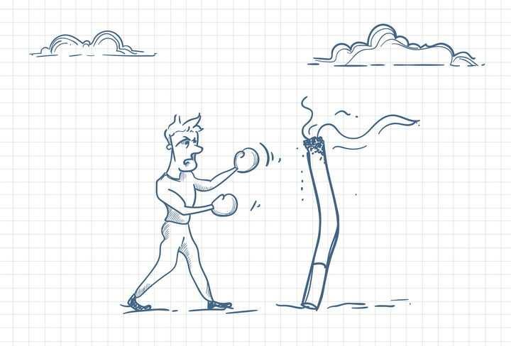 圆珠笔画涂鸦风格跟香烟拳击戒烟职场人际交往配图图片免抠矢量素材