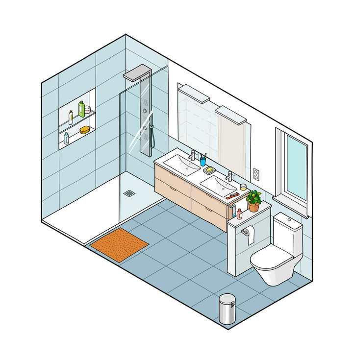 2.5D风格卫生间装修免抠矢量图素材
