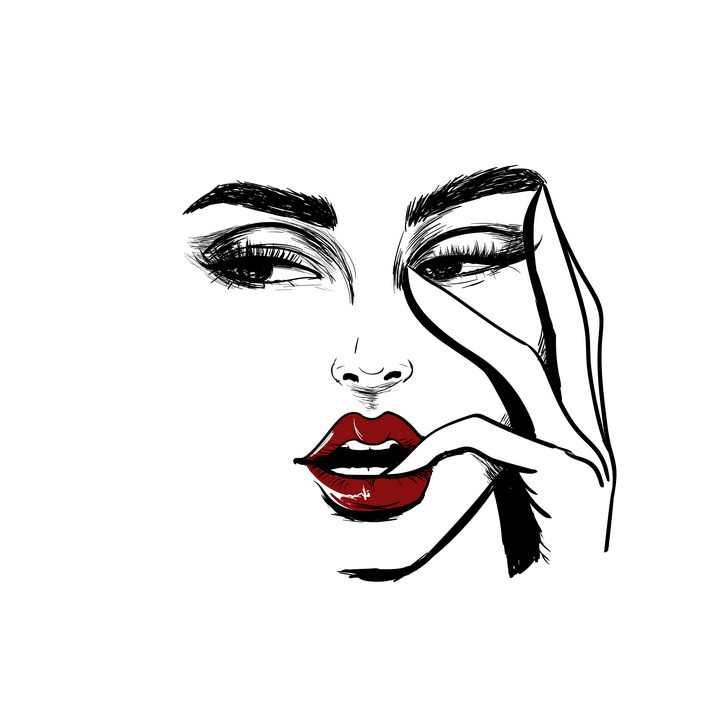 手绘素描风格红唇咬手指的美女图片免抠矢量素材