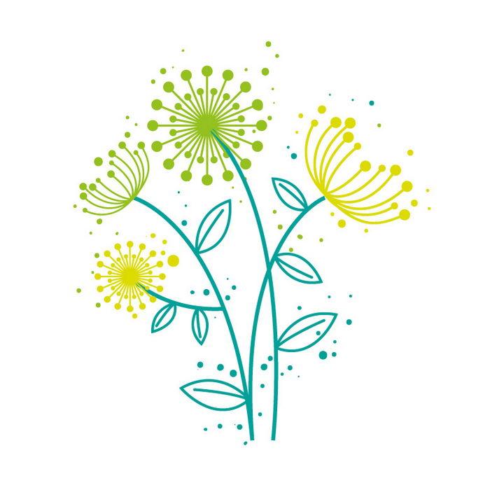绿色线条蒲公英简笔画图片免抠矢量素材 生物自然-第1张