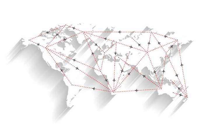 长阴影风格空白世界地图和飞机航班航线图片免抠矢量素材