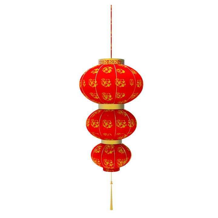 串在一起的三个大红灯笼图片免抠png素材