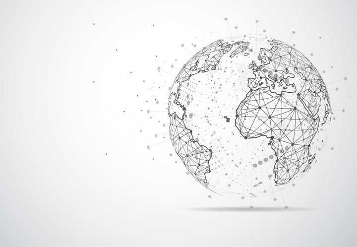 创意点线三角形组成的地球世界地图装饰图案图片免抠矢量素材