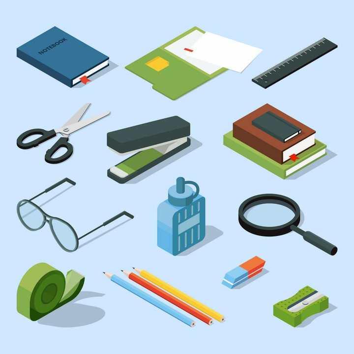 2.5D风格书本直尺剪刀订书机眼镜胶水放大镜铅笔等办公学习用品图片免抠矢量素材