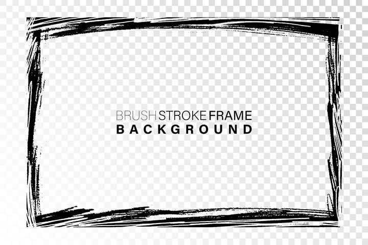 黑色涂鸦线条风格边框图片免抠矢量素材