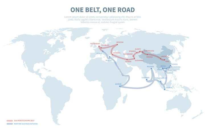 中国国家战略一带一路沿途各个国家世界地图示意图图片免抠矢量素材