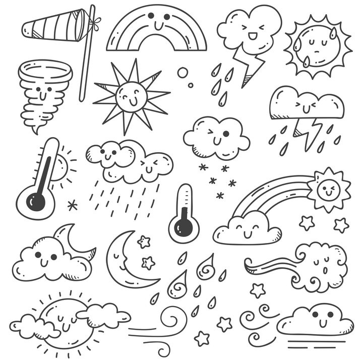 各种手绘线条龙卷风彩虹太阳闪电高温低温多云等天气简笔画图片免抠矢量素材 简笔画-第1张