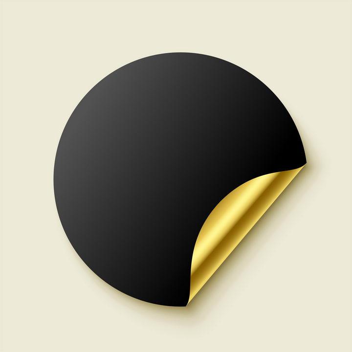 黑色表面金色底的圆形标签纸贴纸图片免抠矢量素材