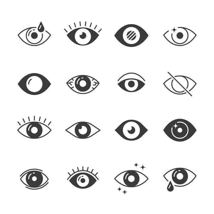 16款眼睛图案图标图片免抠矢量素材