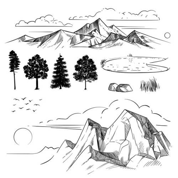 手绘线条素描风格大山森林池塘图片免抠矢量素材