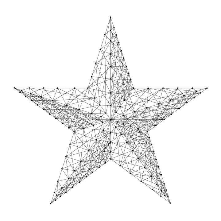点线组成的五角星图案图片免抠矢量图