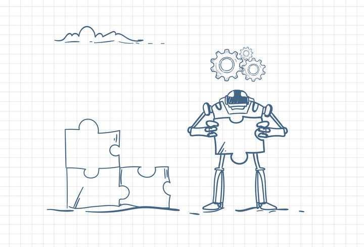圆珠笔画涂鸦风格拿着拼图的机器人职场人际交往配图图片免抠矢量素材