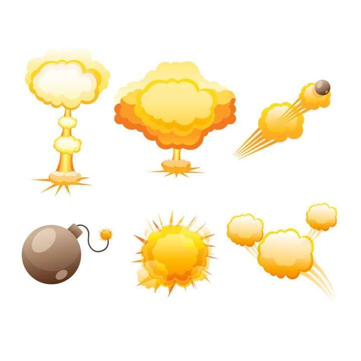 黄色漫画风格爆炸效果蘑菇云和炸弹图片免抠素材