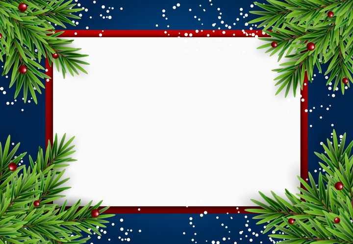 圣诞节松叶装饰方形文本框边框图片免抠素材