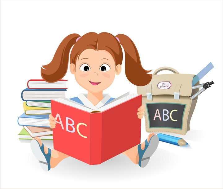 正在看英语书学英语的卡通女孩图片免抠素材