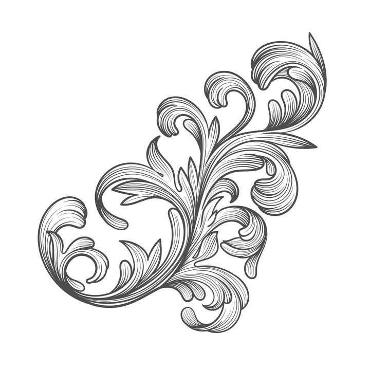 手绘线条勾勒的树叶纹理花纹图片免抠矢量素材