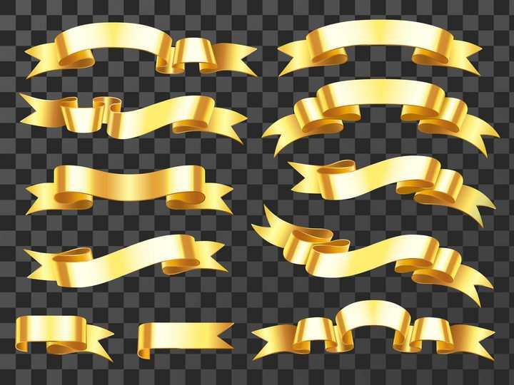 10款金色金属风格横幅旗帜标签图片免抠矢量素材