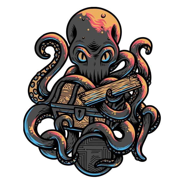 漫画风格守护宝箱的章鱼怪图片免抠矢量素材