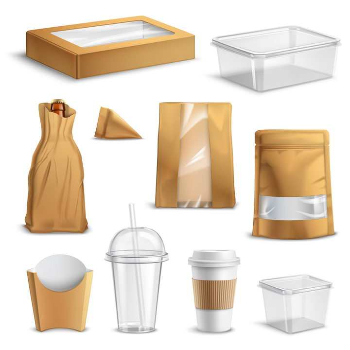 各种棕色空白包装的微波饭盒纸袋子一次性杯子等图片免抠矢量素材