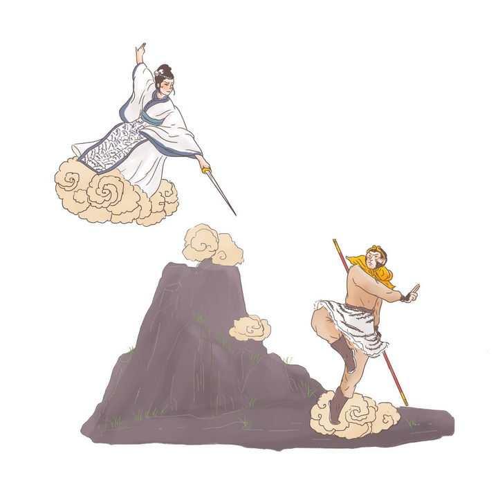 西游记孙悟空三打白骨精中国传统神话人物传说故事手绘彩色插图图片免抠png素材