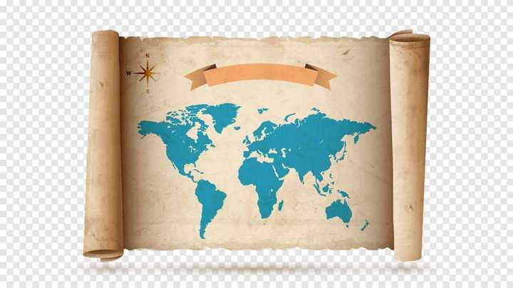 展开的印有世界地图的复古卷轴图片免抠矢量素材