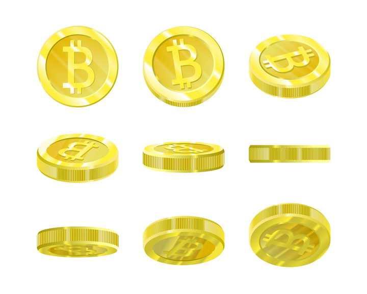 9种不同角度的立体比特币金币图片免抠矢量图