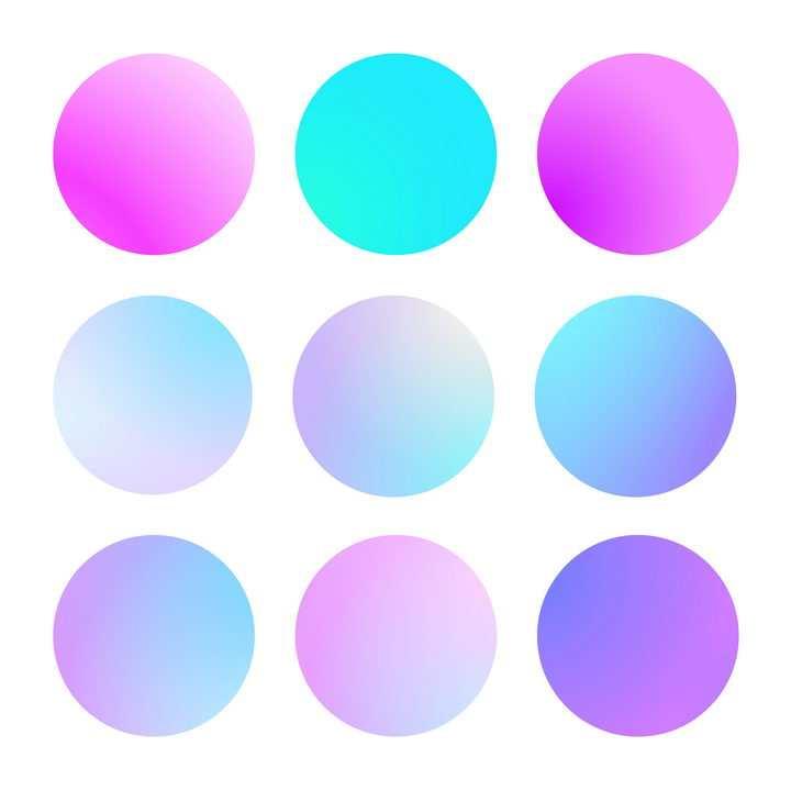 9种渐变色风格的圆形按钮图片免抠矢量素材