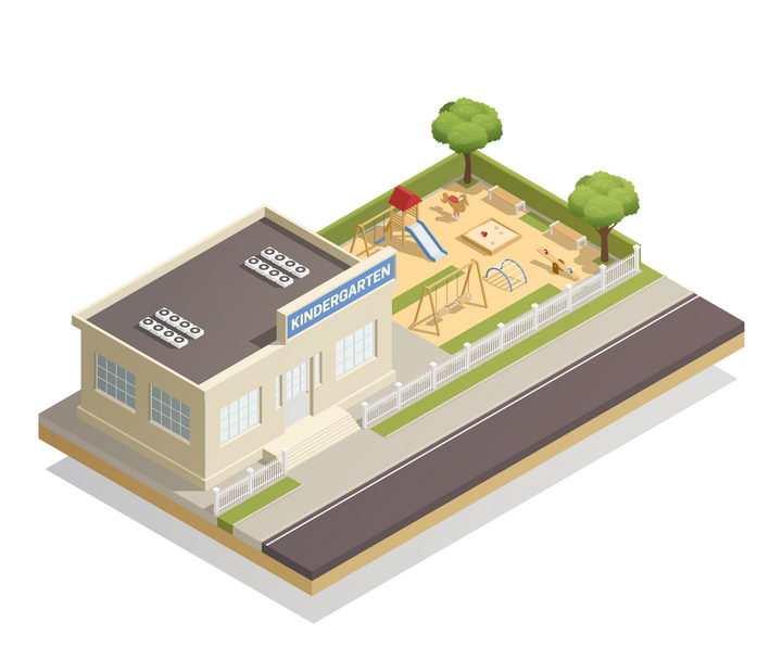 2.5D风格旁边有一个儿童游乐场的城市建筑图片免抠素材