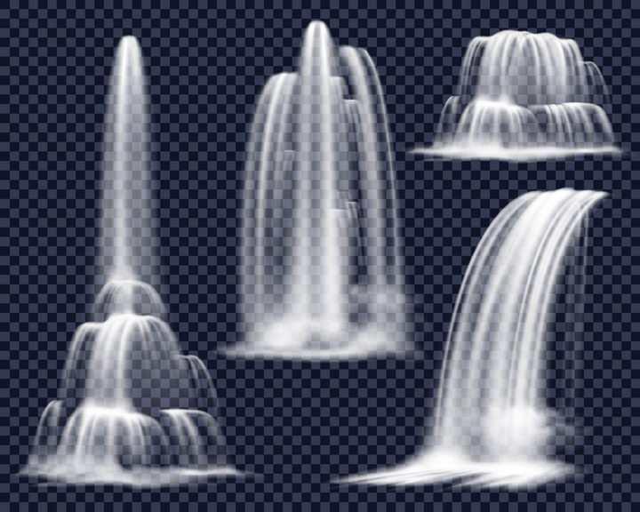 4款流淌的水流瀑布流水效果图片免抠矢量素材