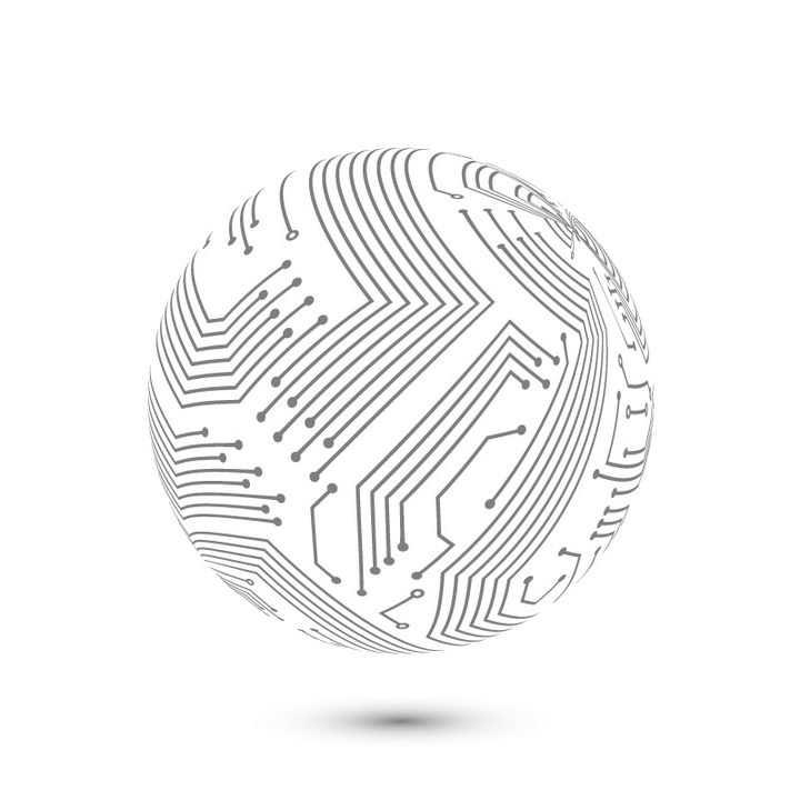 创意点线组成的折线电路构成的圆球图案图片免抠矢量素材