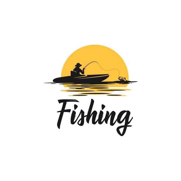 漫画风格夕阳下小船上钓鱼的人logo设计方案图片免抠素材