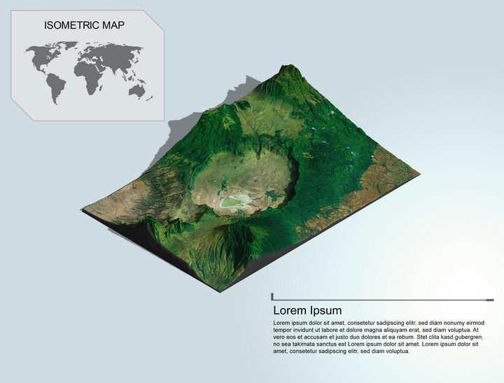 地理地质火山口盆地地形地貌PS 3D模型图片样机模板
