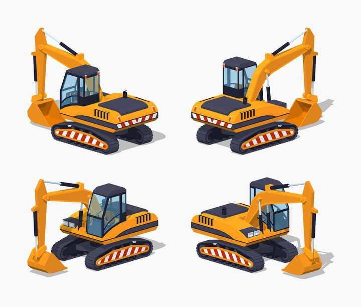 黄色挖掘机挖土机的四个不同角度图片免抠矢量素材
