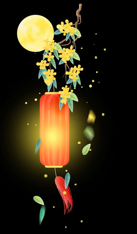 中秋节挂在桂花枝头上的圆筒形红色灯笼图片免抠png素材 节日素材-第1张